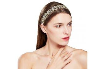 (Gold) - ArtiDeco Crystal Wedding Headpiece Bridal Hair Vine Hair Accesories for Wedding Bridemaid Headband Crystal Floral Leaf Headband (Gold)