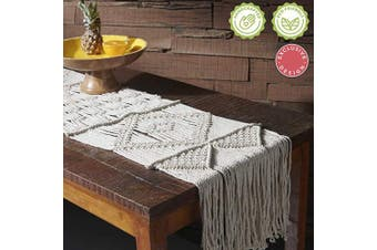 (33cm  W x 220cm  L) - Macrame Table Runner (33cm x 220cm ) Long or Boho Table Runner for Dining Table or Coffee Table, Bohemian Table Runner for Rustic Wedding Table Decor, Vintage Bohemia Style, 100% Cotton Handwoven