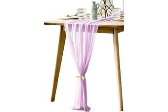 (Lavender) - BOXAN Rustic 80cm x 300cm Light Purple Sheer Table Runner for Boho Lavender Wedding Party Decor,Romantic Bridal & Baby Shower Lilac Reception Table Linen Scarf Swags Birthday Party Supplies Decorations