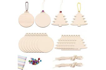 (mix) - Chuyau Christmas Unfinished Wood Slices Ornaments Cutouts with Hanging Ropes, 20pcs Colourful Bells and 5pcs Mixed Colourful Ball Bead Chain (2.4mm Chains)