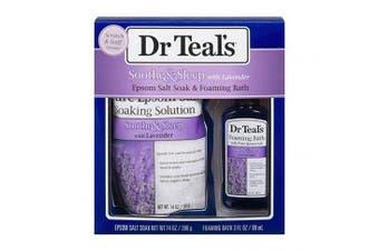 Dr Teal's Lavender Epsom Salt & Foaming Bath Oil Sampler Gift Set 2019 - Give The Gift of Relaxation & Peaceful Slumber! - 410ml Bag of Lavender Bath Salts & 90ml Bottle of Lavender Foaming Bath Oil