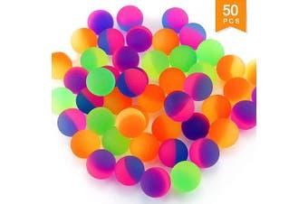 Hslife 50 Pcs Two Tone Colour Rubber Balls Bulk, Colourful High Bounce Balls, Super Bouncy Balls for Party Favour, Surprise Bag Filler