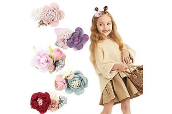 (D) - CN 5pcs Floral Hair Clips Flowers Crown Hairpins Rose Beach Party Bridal Accessories for Teens Kids Women Girls