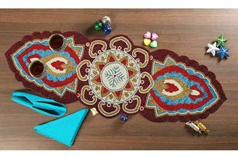 (13x36, Maroon Multi) - Farm House Table Runner 90cm Decorative Glass Beads Glitz Table Runner, Glitz Beaded Table Runner, High Brand Table Runner, Rustic Bridal Table Runner, Wedding Table Runner -33cm x 90cm Maroon Multi