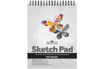 Brite Crown Sketch Book – Sketch Pad 9 x 12-100 Sheets - Perforated Sketchbook Art Paper for Pencils, Pens, Markers, Pastels, Charcoal and Dry Media (29kg/95gsm) Acid Free Drawing Paper