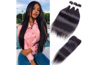 "(24""26""28""+20"" Closure, Natural Black) - 8A Peruvian Straight Human Hair Bundles with Closure Deals 24""26""28""+20"" 100% Unprocessed Straight Virgin Hair Weave 3 Bundles with Lace Closure Free Part Remy Human Hair Extensions Natural Colour"