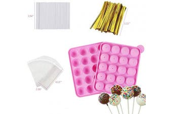 (Cake Pop Pink) - Akingshop 20 Cavity Silicone Cake Pop Mould Set - Lollipop Mould with 60Pcs Cake Pop Sticks, Candy Treat Bags, Gold Twist Ties, Great For Lollipop, Hard Candy, Cake Pop and Chocolate