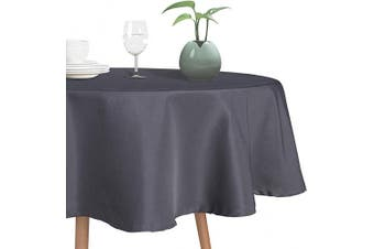 (150cm  Round, Grey) - sancua Round Tablecloth - 150cm - Stain and Wrinkle Resistant Washable Polyester Table Cloth, Decorative Fabric Table Cover for Dining Table, Buffet Parties and Camping, Grey