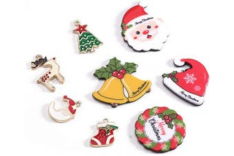 (mix2) - Chuyau Resin Flatback Buttons Christmas Charms Assorted Gold Plated Enamel Mixed Pendants for DIY Jewellery Making (24pcs)