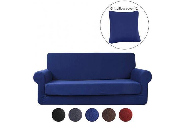 (Deep Blue, 2 Seater:145-172cm) - Premium Sofa Covers,Hengweiuk Pure Colour Sofa Protector 1/2/3/4 Seater Sofa Slipcover Stretch Stylish Furniture Cover 2-Piece Pet Dog Protector Anti-Mite & Anti-wrinkle (Deep Blue, 2 Seater:145-172cm)
