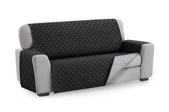 (2 Seater, Black) - Textilhome - Sofa Cover MALU, Size 2 Seater -REVERSIBLE Padded Sofa Protector. Colour Black