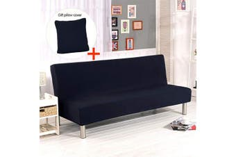 (Black) - Armless Sofa Slipcover,Hengweiuk Solid Colour 3 Seater Sofa Bed Covers Modern Stretch Polyester Spandex Futon Slipcover Protector Folding Couch Sofa Shield Futon Cover (Black)