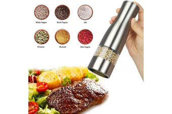 (1) - Salt and Pepper Mills Electric Salt and Peppercorn Grinders with Adjustable Ceramic Coarseness - Brushed Stainless Steel and Glass Body Shakers (1) (1)
