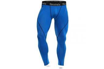 (X-Large, blue) - Bewinds Men's Compression Pants, Baselayer Cool Dry Sports Tights Leggings for Running, Yoga, Cycling