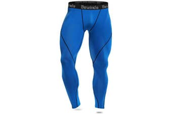 (XXX-Large, blue) - Bewinds Men's Compression Pants, Baselayer Cool Dry Sports Tights Leggings for Running, Yoga, Cycling