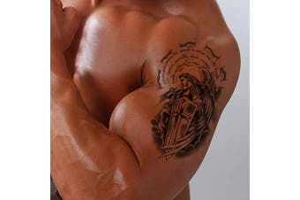 (Pattern 1) - Temporary Tattoo for Men - Fake Black tattoo Body Stickers Arm Shoulder Chest angels, angel wings, crosses (Pattern 1)