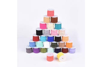 (30rolls#3x1.5mm) - Beadthoven 30Rolls 3mm Faux Suede Cord 5m/roll Mixed Colour Beading Thread for Jewellery Making Necklaces Friendship Bracelet Keychain Handmade Accessories DIY Finding Supplies Home Decoration 3x1.5mm