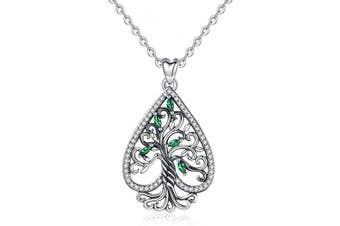 (Heart Tree of Life) - Tree of Life Necklace, Womens 925 Sterling Silver Life on Tree Pendant with 46cm Chain, Fine Jewellery by CELESTIA, Mothers Birthdays Friendship Gifts