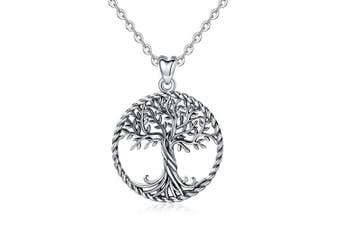 (H- Oxidized Silver Tree) - Tree of Life Necklace, Womens 925 Sterling Silver Life on Tree Pendant with 46cm Chain, Fine Jewellery by CELESTIA, Mothers Birthdays Friendship Gifts