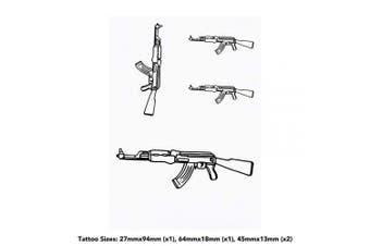(Set of 4 Temporary Tattoos) - Azeeda 4 x 'AK47 Weapon' Temporary Tattoos (TO00012621)