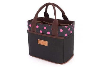 (Black&Rose Dot) - Canvas Bento Lunch Bag Sandwich Carry Bag for School Office Tote Lunch Bag with Rope Belt Stylish