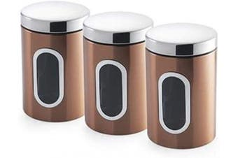 Addis Set of 3X Canisters-Coppers, Metal, 1.4L