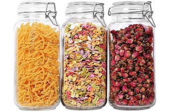 (Transparent - 2300ml Square) - T4U Glass Storage Jars with Lids 2300ML Food Canisters Set of 3 - Airtight Clear Preserving Seal Wide Mouth Containers with Wire Clip Fastening for Kitchen Canning Cereal,Pasta,Sugar,Coffee,Spices