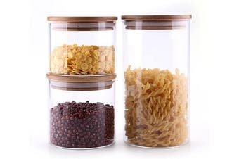 (500/600/1200ML) - ComSaf Glass Storage Jars with Lids Set of 3 - High Borosilicate Glass Airtight Kitchen Food Canister Cylinder Clear Preserving Seal Containers with Bamboo Lid Canning Cereal Spice (500/600/1200ML)