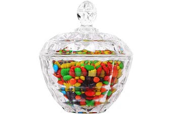 (Small - Pack of 1, Transparent - Apple Shaped) - ComSaf Glass Candy Sweet Jar with Lid, Crystal Bon Bon Jar Covered Sugar Bowl Small Decorative Cookie Dish Buffet Storage Container Clear for Party Wedding (Diameter: 11CM)