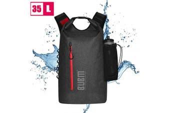 (Black) - BUBM Dry Backpack, 35L Floating Waterproof Dry Bag Roll-top Dry Bag Backpack for Kayaking, Boating, Hiking, Camping, Fishing