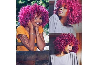 (Purple) - AISI BEAUTY Afro Kinky Curly Fully Wigs Shoulder Length Synthetic Cosplay Wigs for African American Synthetic Short Natural Curly Wigs with Bangs(Magenta)