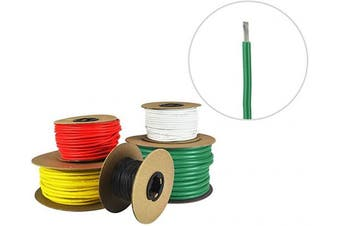(4m (Coiled), Green) - 12 AWG Marine Wire -Tinned Copper Primary Boat Cable - Available in Black, Red, Yellow, Green, and White - Made in The USA- Made in The USA