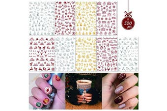 Konsait 520+ Christmas Nail Art Stickers Self-adhesive Nail Decals, 3D Peel and Stick Christmas Nail Wraps Snowflakes Nail Decals for Xmas Gifts Party Christmas Favour Supplies Decoration