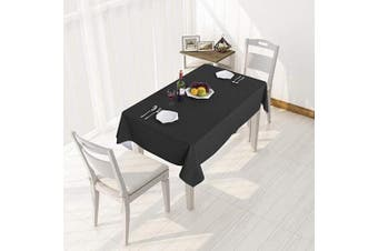 (140cm  x 270cm , Black) - sancua 100% Waterproof Rectangle PVC Tablecloth - 140cm x 270cm - Oil Proof Spill Proof Vinyl Table Cloth, Wipe Clean Table Cover for Dining Table, Buffet Parties and Camping, Black