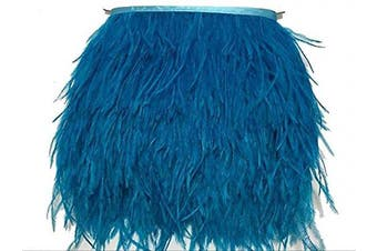 (sky-blue) - ADAMAI Natural Ostrich Feathers Trims Fringe DIY Dress Sewing Crafts Costumes Decoration Pack of 10 Yards (Sky-Blue)