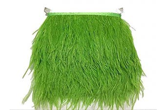 (green) - ADAMAI Natural Ostrich Feathers Trims Fringe DIY Dress Sewing Crafts Costumes Decoration Pack of 10 Yards (Green)