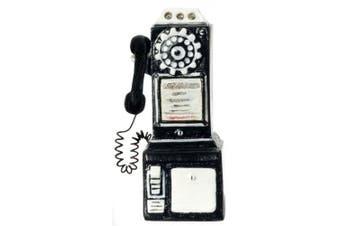 Dollhouse Miniature 1950's Style Pay Phone Black