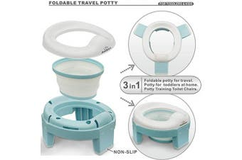 (blue) - 3-in-1 Go Potty for Travel, Portable Folding Compact Toilet Seat,Potty Training Toilet Chairs for Toddler Boys & Girls by BlueSnail (Blue)
