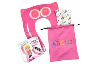 (Pink) - ABC123 - Toddler Potty Training Set - Portable Toilet Seat Cover, Potty Training Watch and 2 Disposable Shields (Pink)