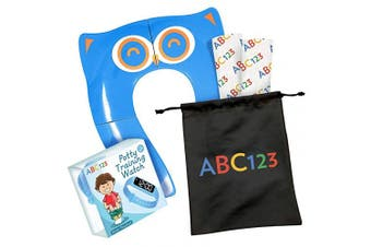 (Blue) - ABC123 - Toddler Potty Training Set - Portable Toilet Seat Cover, Potty Training Watch and 2 Disposable Shields (Blue)