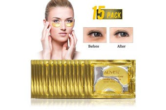 (15 Pairs) - 15 Pairs Gold Eye Mask Power Crystal Gel Collagen Masks, Great For Anti Ageing, Dark Circles & Puffiness (15 Pairs)