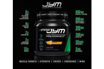(20 Servings, Tangerine) - Pre JYM Pre Workout Powder - BCAAs, Creatine HCI, Citrulline Malate, Beta-Alanine, Betaine, and More | JYM Supplement Science | Tangerine Flavour, 20 Servings