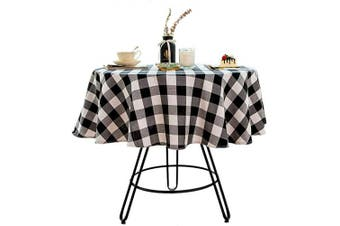 (Round - 120cm , White and Black) - Bettery Home Cotton Linen Buffalo Cheque Plaid Round Tablecloth for Dinners or Gatherings, Indoor or Outdoor Parties, Everyday Use (Round - 120cm , White & Black)