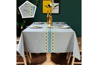 (Rectangle/140cm  x 300cm /10-12 seats, Grey-2) - TEWENE Table Cloth, Waterproof Tablecloth Wrinkle Free Spill-Proof Cotton Linen Rectangle Tablecloth Wipeable Tableclothes for Dining Party (Rectangle/Oblong, 140cm x 300cm ,10-12 Seats, Grey)