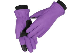 (X-Small, Purple) - OZERO Winter Gloves for Women and Girl - Touch Screen Fingers and Thermal Fleece with Insulated Cotton - Hands Warm in Cold Weather