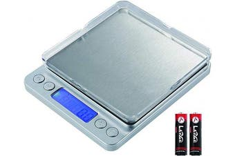 (Silver) - Digital Kitchen Scale,3000g/0.1g Mini Food Scale, Gramme Scale with 2 Trays, 6 Units, Back-Lit LCD Display, Stainless Steel, Tare, PCS, Silver(Batteries Included)
