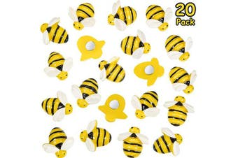 20 Pieces Bees Refrigerator Magnets Cute Bees Fridge Magnets Colourful Whiteboard Bee Magnets for Office Whiteboard Fridge Dry Erase Board