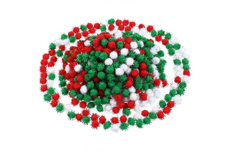 (Red, Green and White) - 600 Pieces Christmas Pom Poms Glitter Pom Poms Arts and Crafts Making Balls for Christmas Craft Making Party Supplies (Red, Green and White)