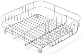 (Stain. Steel/ White) - ADDIS 1-Piece Stainless Steel/ PVA ADDIS White Soft Touch Stainless Steel Draining Rack, White