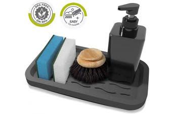 Silicone Sponge Holder - Kitchen Sink Organiser Tray for Sponges Soap Dispenser Scrubber - Silicone Kitchen Sink Organiser Caddy Tray - Soap Holder - Sponge Holder